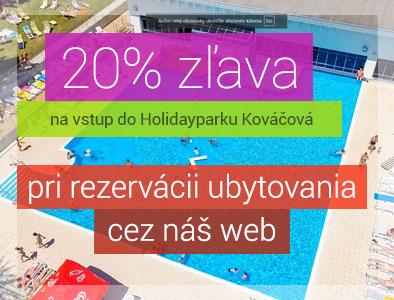 Rezrvujte si ubytovanie cez nás a získate 20% zľavu na vstup do Holidayparku Kováčová